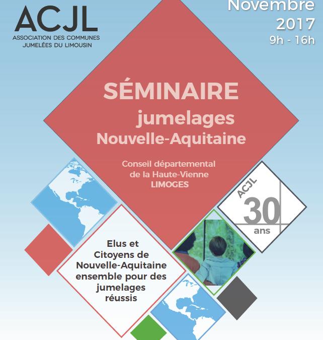 Séminaire sur les jumelages en Nouvelle-Aquitaine le 18.11.2017 : toutes les infos !