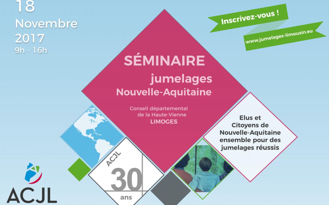 INVITATION – Séminaire jumelages Nouvelle-Aquitaine 18/11/2017 (Limoges)