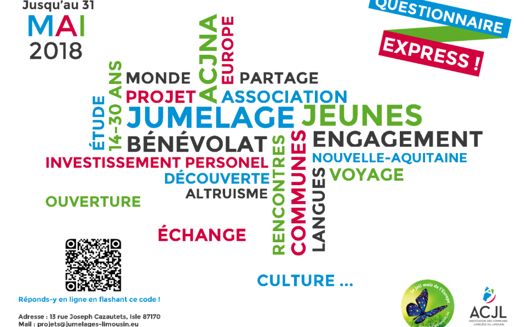 Enquête sur le jumelage et les jeunes en Nouvelle-Aquitaine – Répondez jusqu'au 31 mai 2018