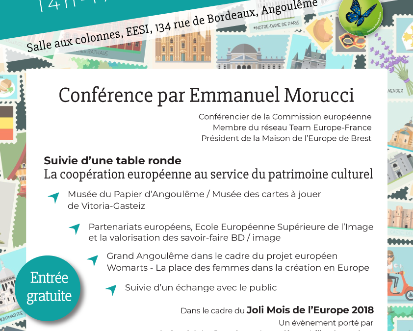 Conférence – Le patrimoine culturel européen : quelle place et rôle en Europe ? // 23 mai, 14h Angoulême
