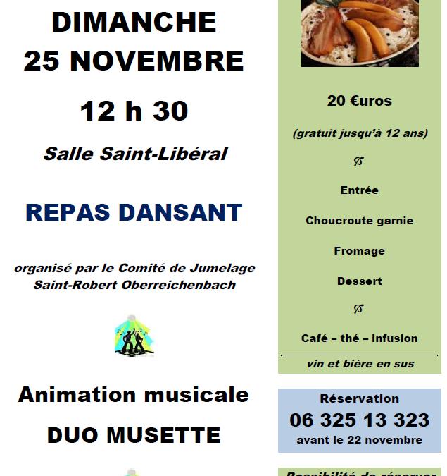 Repas dansant à Saint-Robert le 25.11.2018
