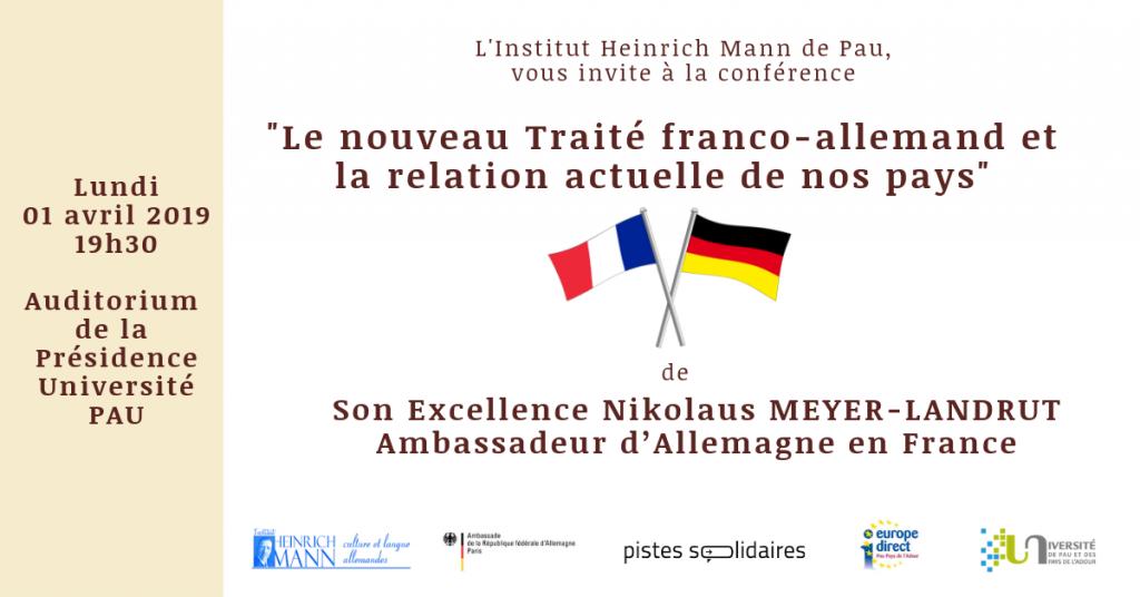 [Soirée franco-allemande 01 AVRIL – PAU] «Le nouveau Traité franco-allemand et la relation actuelle de nos pays»