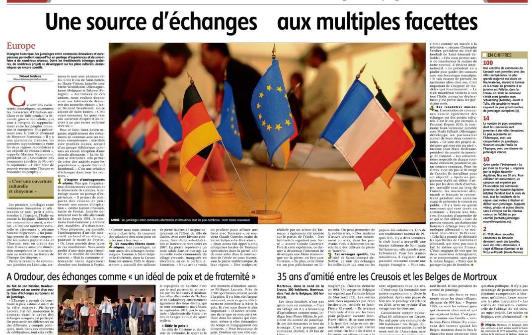 Les jumelages du Limousin à la UNE de la presse locale