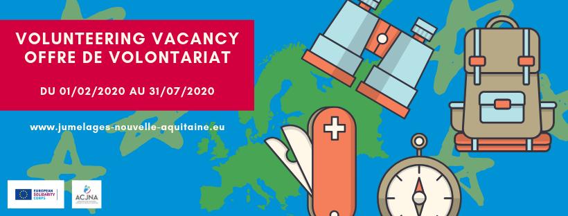 Offre de volontariat CES à partir du 1er février 2020 (6 mois) – ACJNA