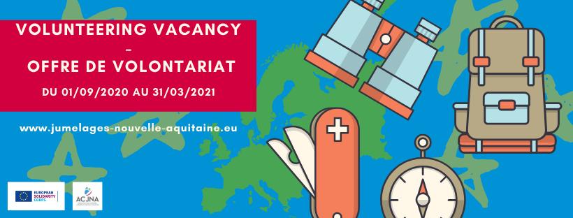 Offre de volontariat CES à partir du 1er septembre 2020 (7 mois) – ACJNA